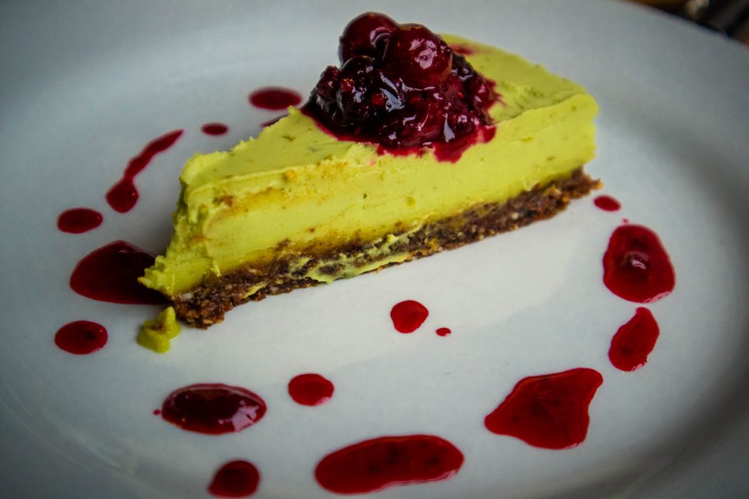 Vegan cheesecake at Checkpoint restaurant in Edinburgh