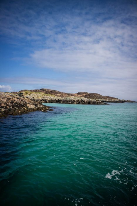 Turquoise water of Scotland's sea.