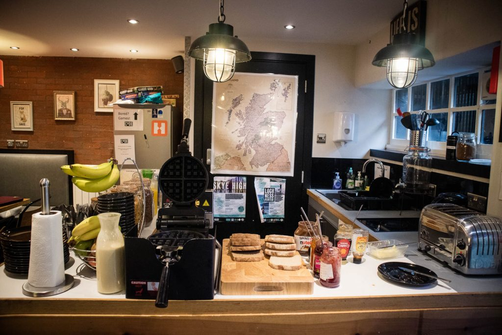 Breakfast buffet at Code pod hostel in Edinburgh