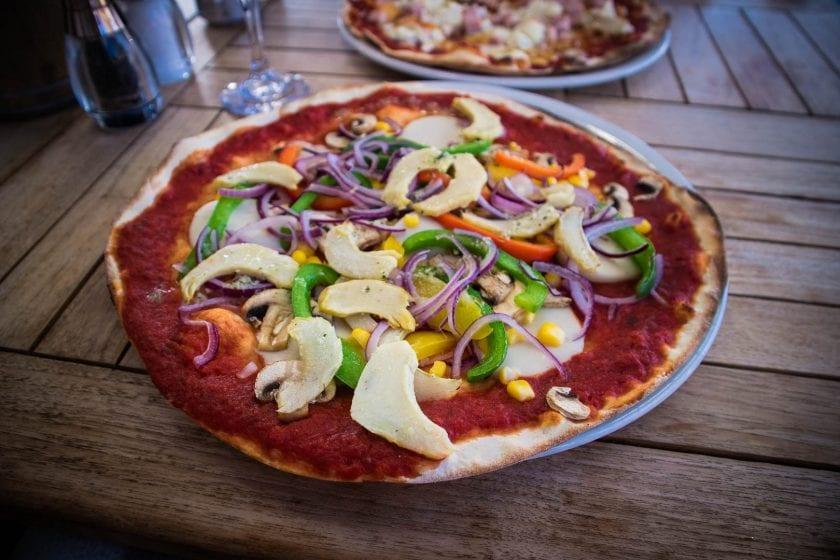 Vegan pizza at Peatzeria in Bowmore