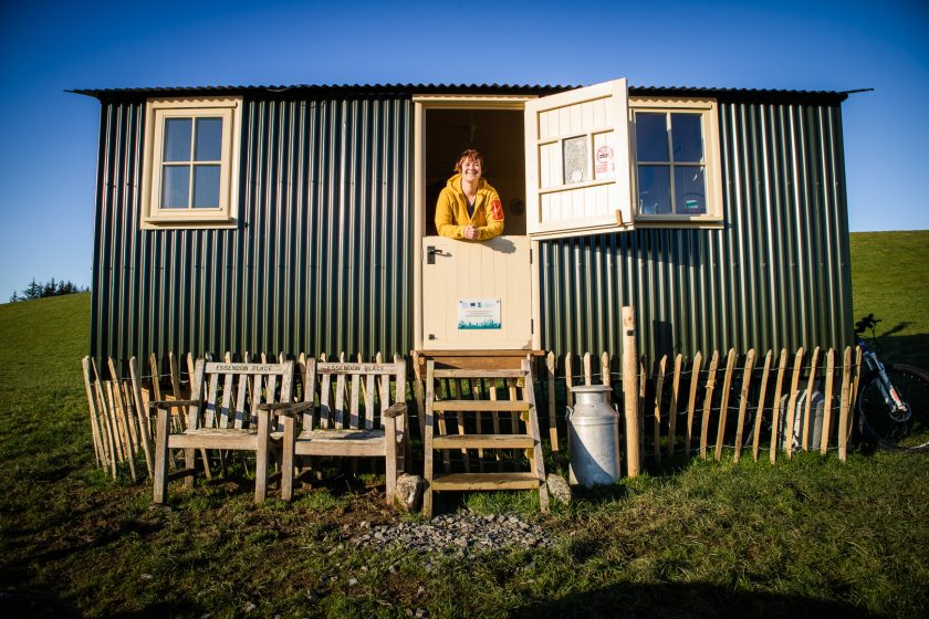 Travel blogger Kathi Kamleitner at a shepherd's hut in south-west Scotland.
