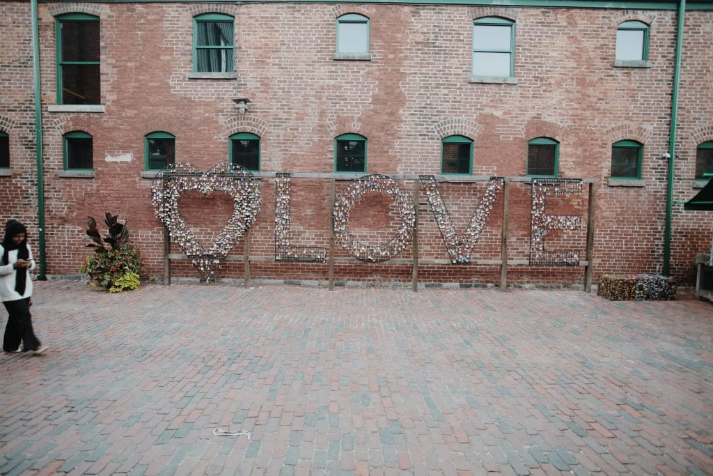 Popular photo op at the Distillery District in Toronto