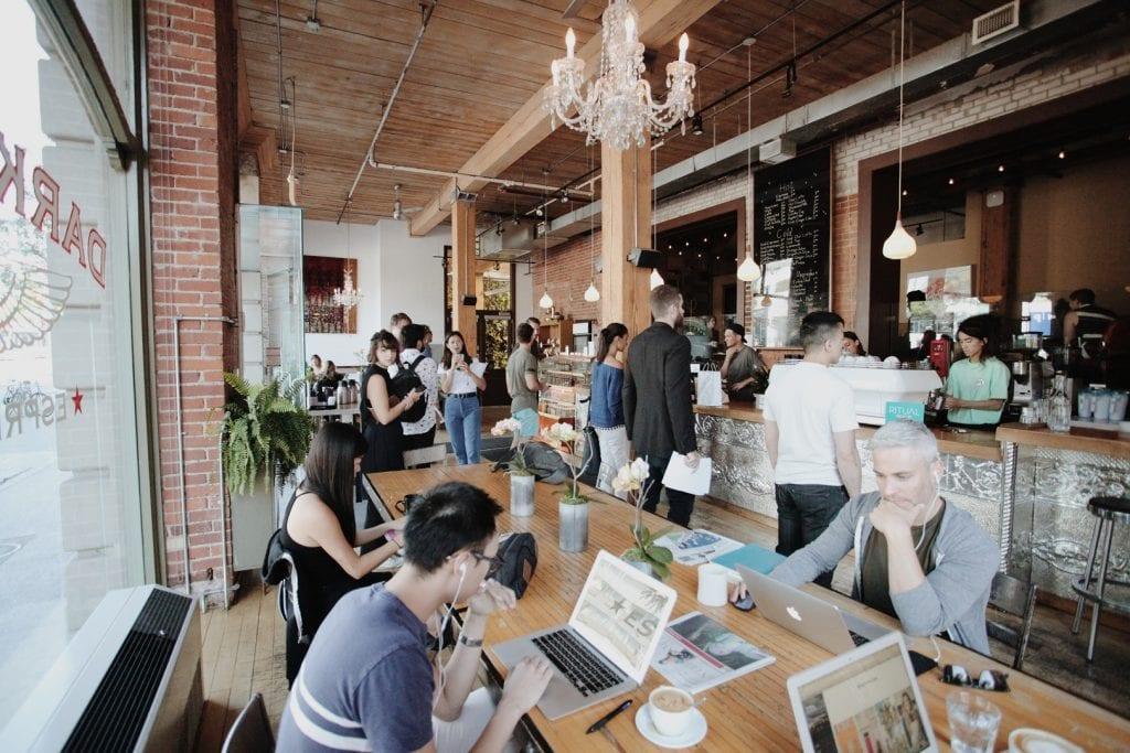 Working at Dark Horse Espresso Bar in Toronto.