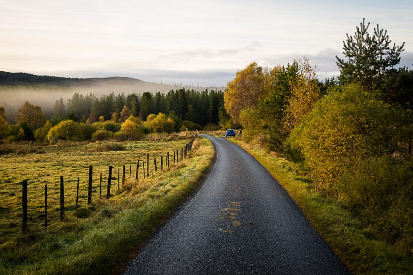 A single track road in Scotland