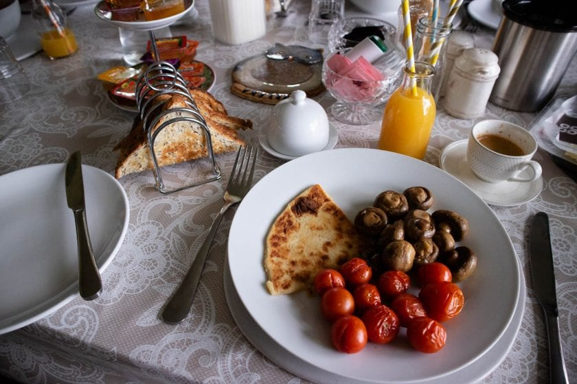 Vegan breakfast at the Allandale B&B on Islay