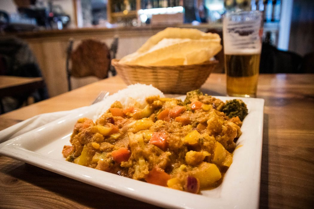 Vegan curry at Bowmore Hotel on Islay