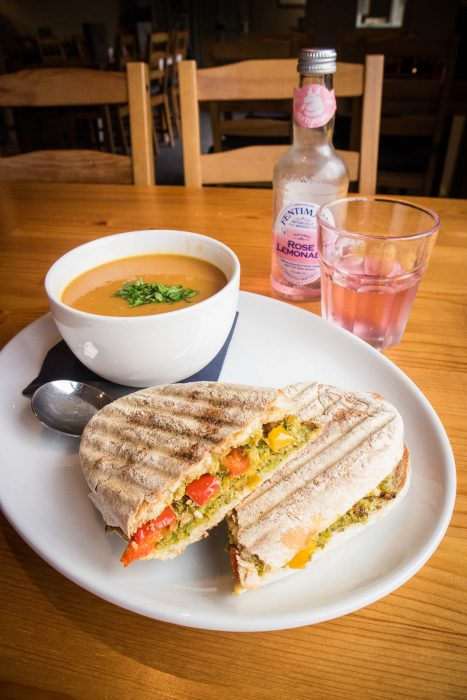 Soup and sandwich combo at Glenbarr Cafe