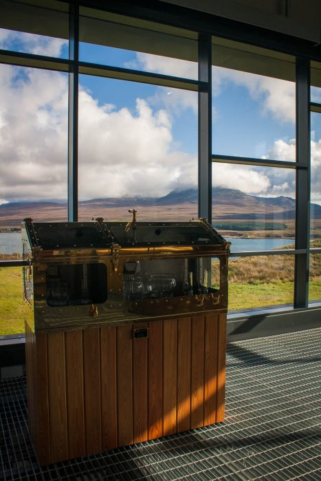 Whisky safe at Ardnahoe Distillery on Islay with views of Jura