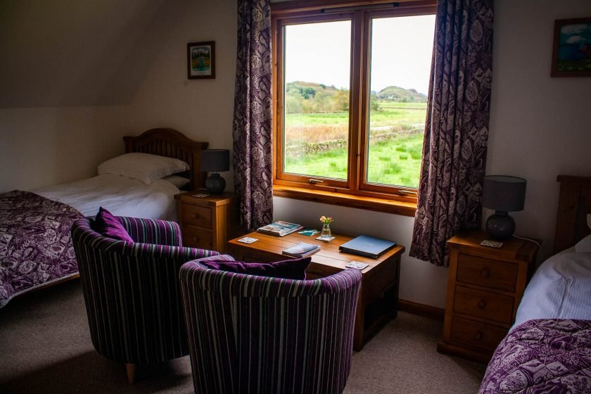 Twin room with view of Dunadd Fort at Kingsreach B&B