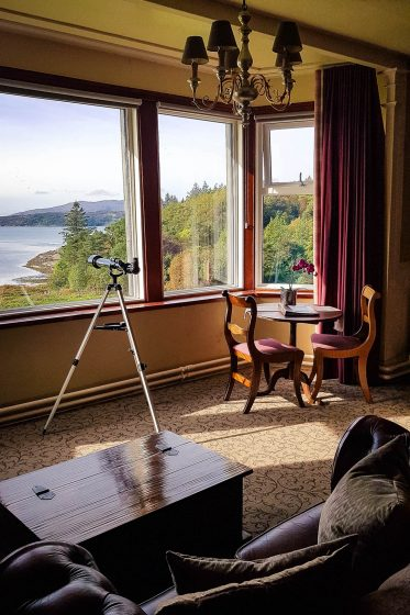 view from the deluxe suite of Loch Melfort Hotel in Scotland