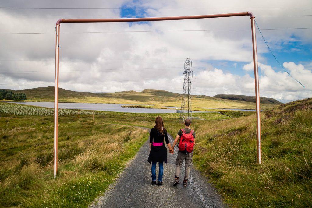 A couple hiking in the Kilpatrick Hills near Glasgow, Scotland