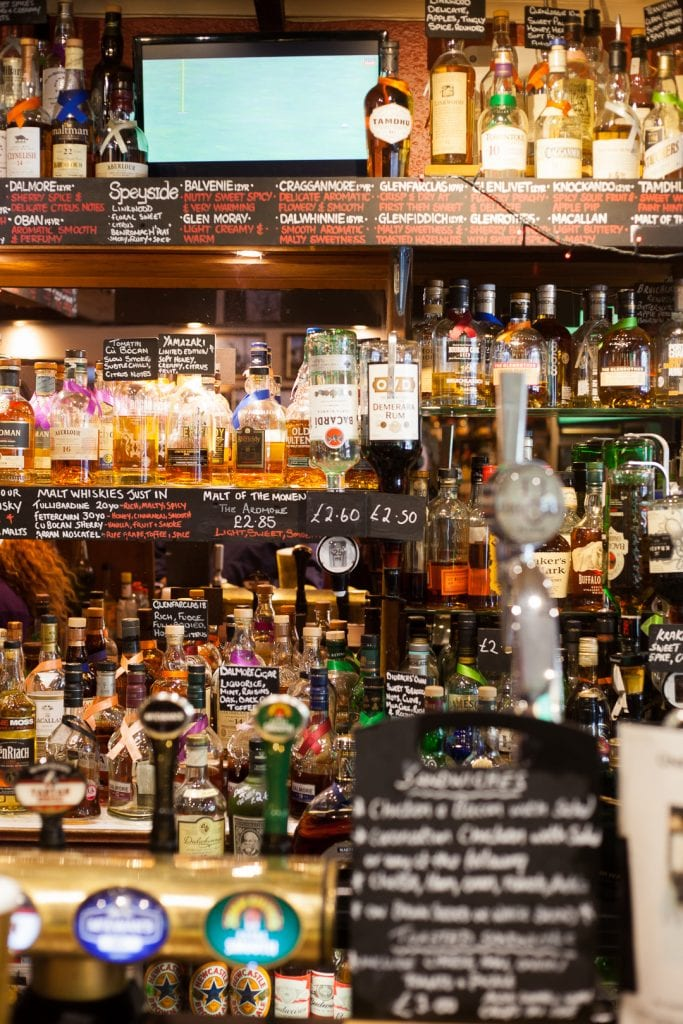Whisky selection at the Key's Bar in St Andrews.
