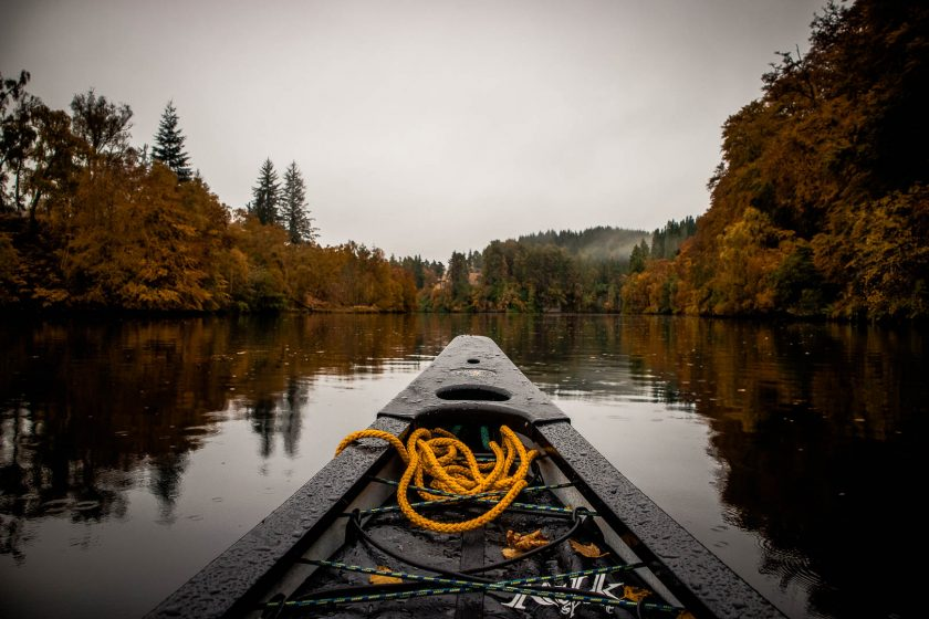 Canoeing at Aigas Gorge near Loch Ness in Scotland.