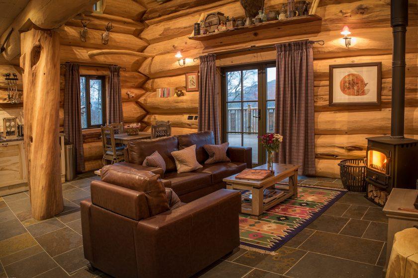 Interior of the Eagle Brae log cabin in Scotland