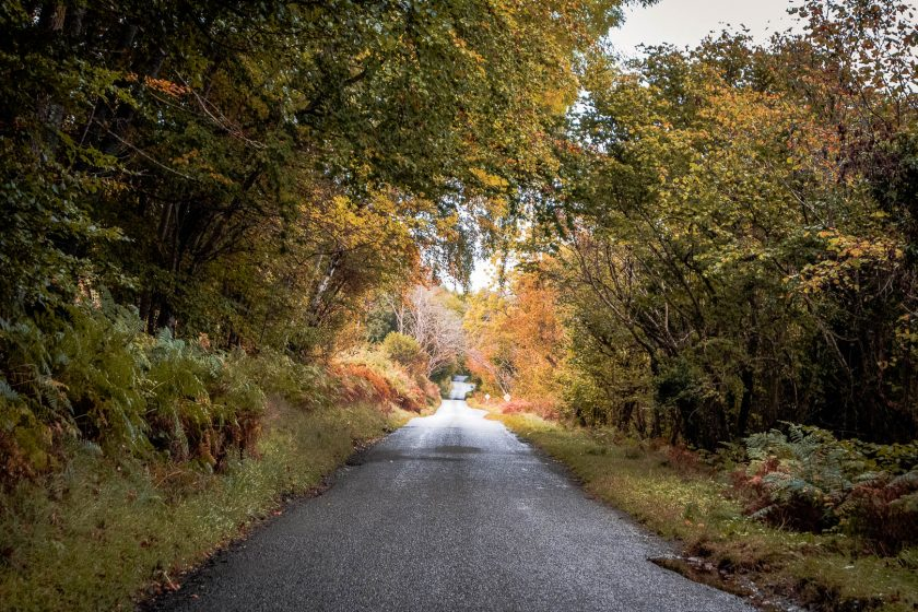 Driving on the B852 road near Loch Ness in Scotland.