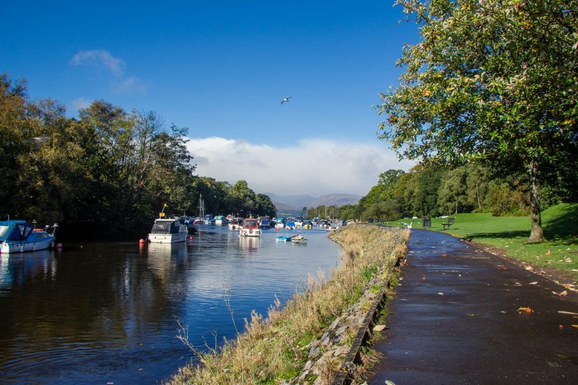 Boats in the harbour of Balloch, Loch Lomond, Scotland
