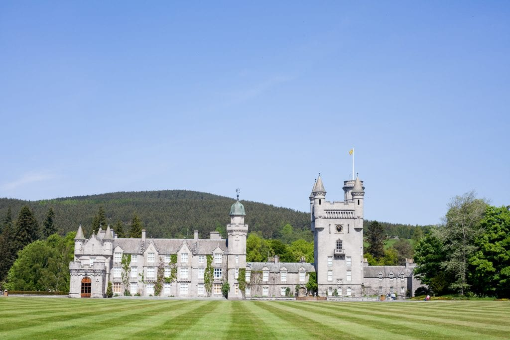 Balmoral Castle exterior shot from the castle gardens.