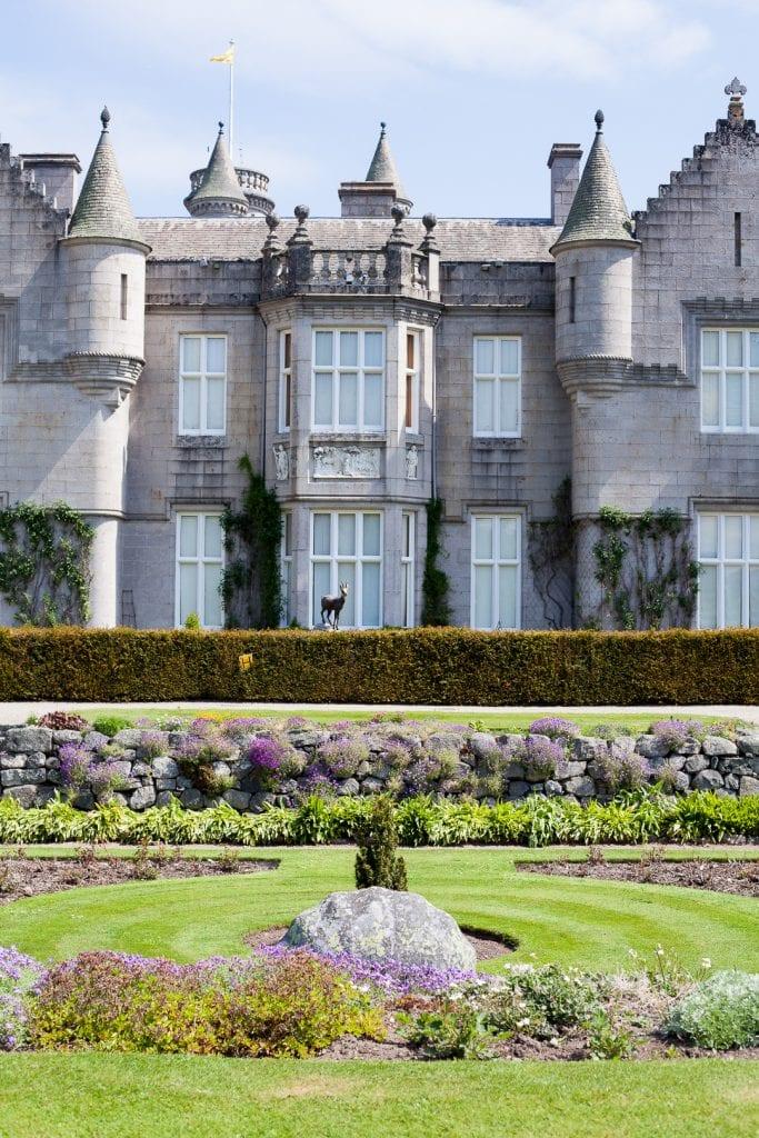 Balmoral Castle exterior shot from the castle gardens.