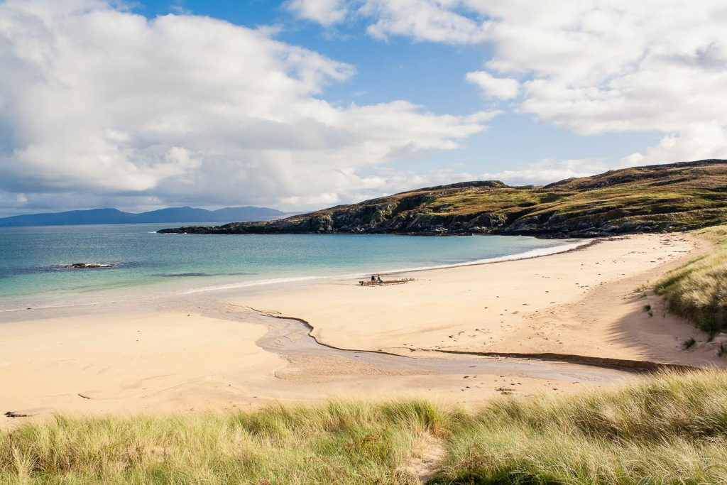 The sandy beach at Balnahard Bay on Colonsay in Scotland