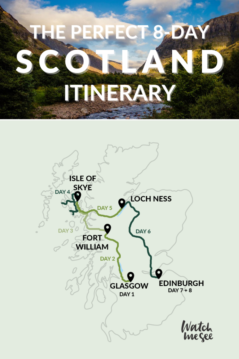 Spend 8 days in Scotland and see the best the country has to offer. Follow this Scotlnad itinerary to see Edinburgh, the Highlands, the Isle of Skye, Loch Ness, Glasgow and more.