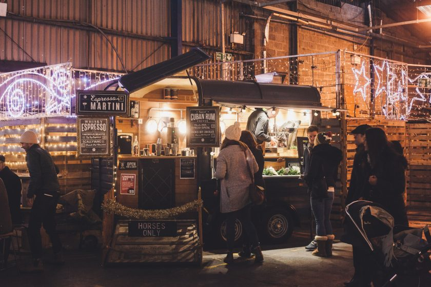 Cosy christmas food market in Glasgow