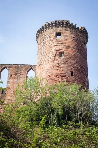 The donjon circular keep tower of Bothwell Castle near Glasgow, Scotland.