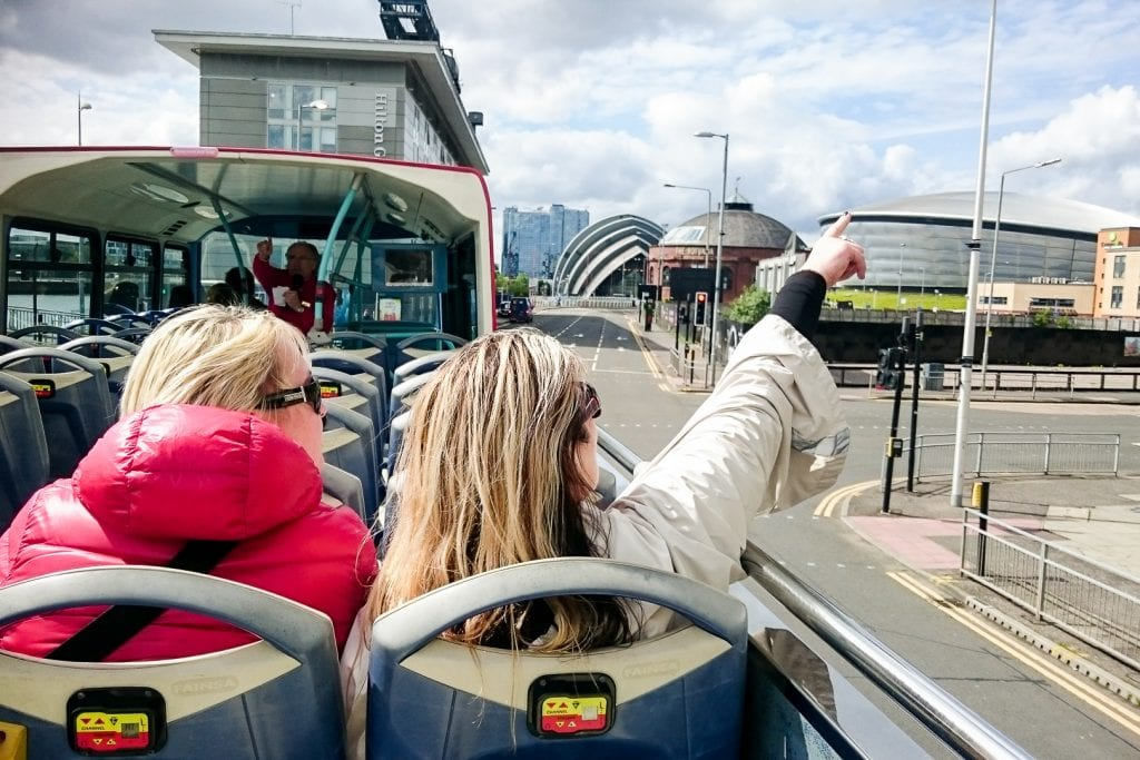 On the City Sightseeing bus in Glasgow.