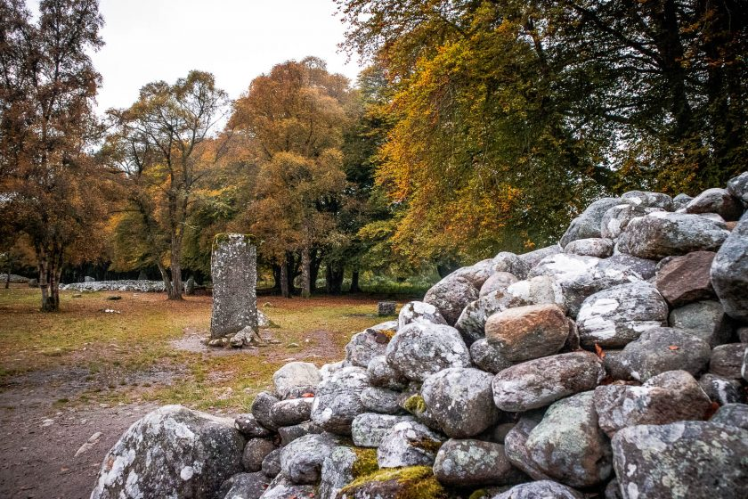 Standing stones at Clava Cairns near Inverness in Scotland