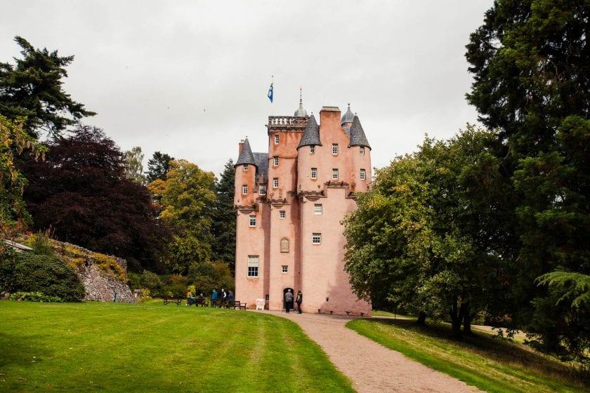 The pink fairytale castle, Craigievar Castle in the Royal Deeside in Aberdeenshire, Scotland