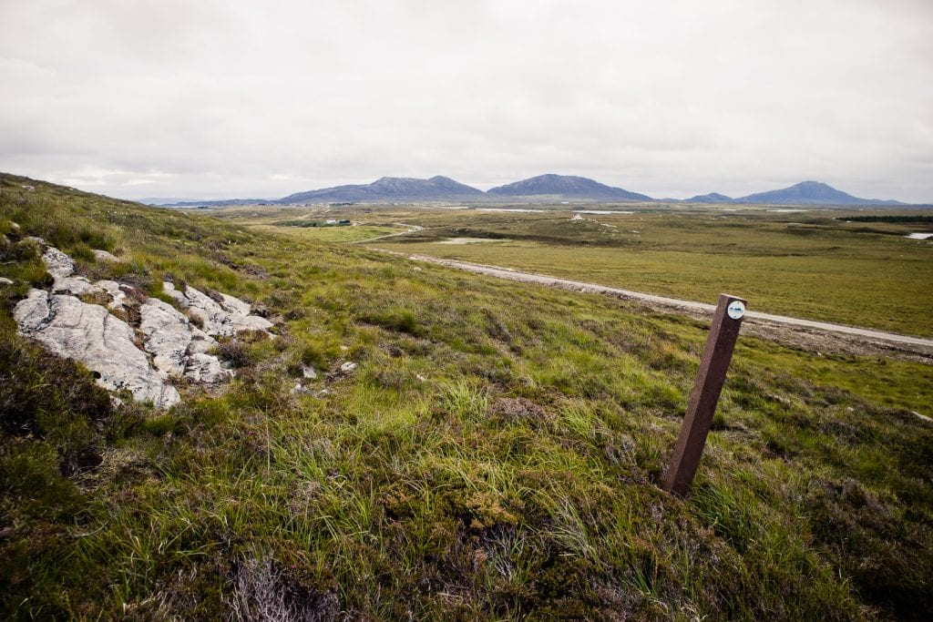 Day 7 A marker post in the moor of North Uist - Hebridean Way in 12 days