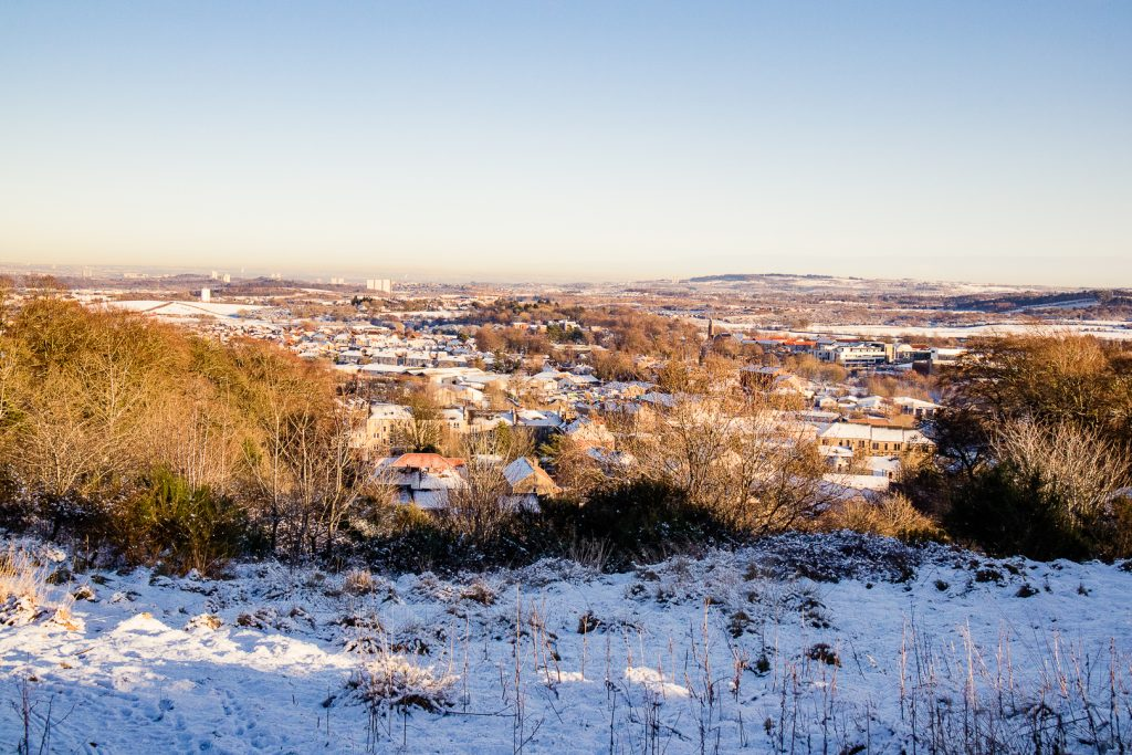View of Barrhead from Fereneze Braes hike in Glasgow