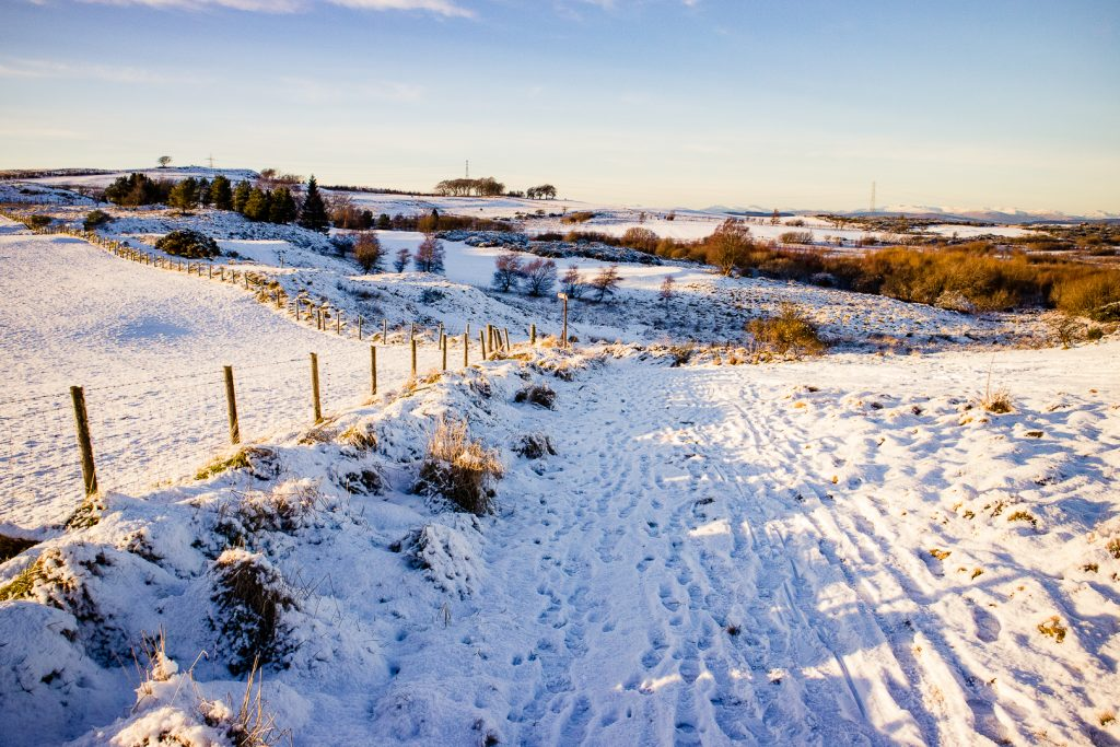 snow covered trail at Fereneze Braes hike in Glasgow