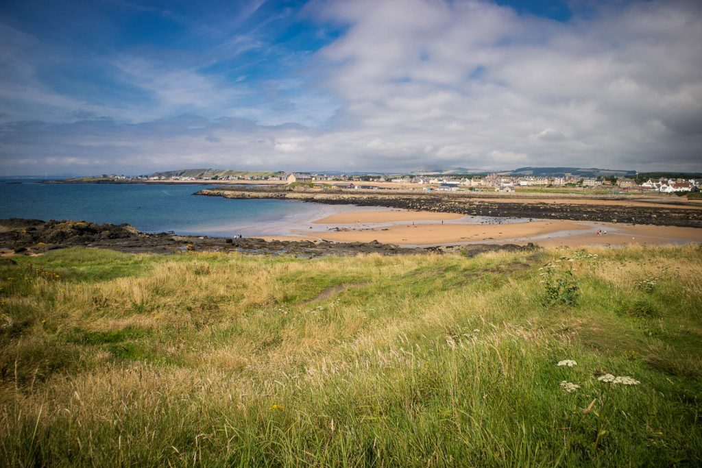 Beach at Ruby Bay in Elie in Scotland.