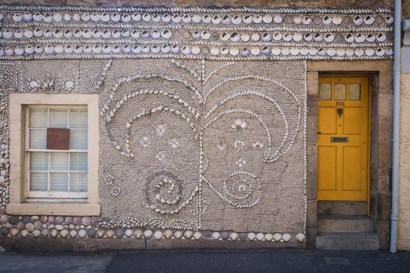A house decorated with seashells in Scotland