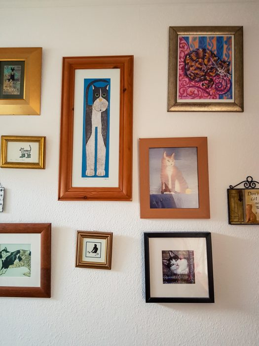 The walls at Cosy Vegan B&B are decorated with mostly cat-themed wall art.