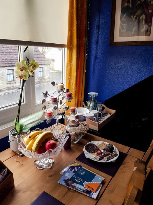 A table full of treats was awaiting us in our room at the Cosy Vegan B&B.
