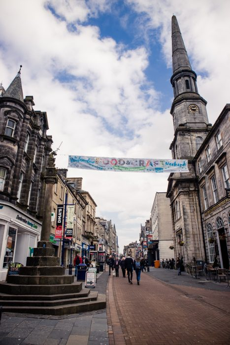 The Market Cross on the High Street in Dunfermline.