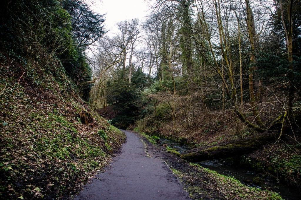 Walking through Pittencrieff Park in Dunfermline.