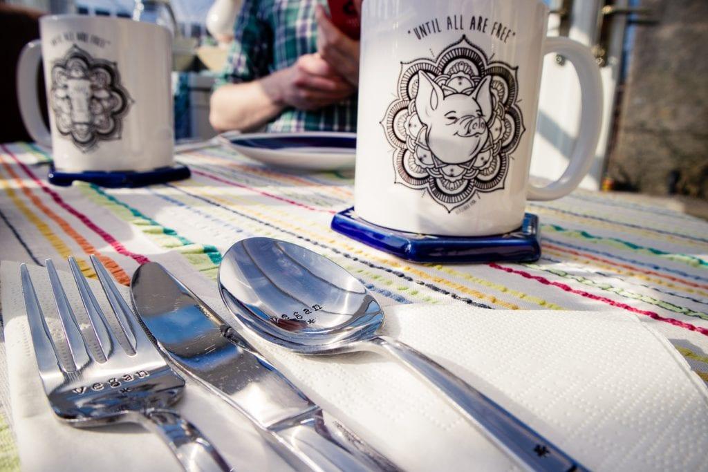 Custom cutlery at the Cosy Vegan B&B in Fife.