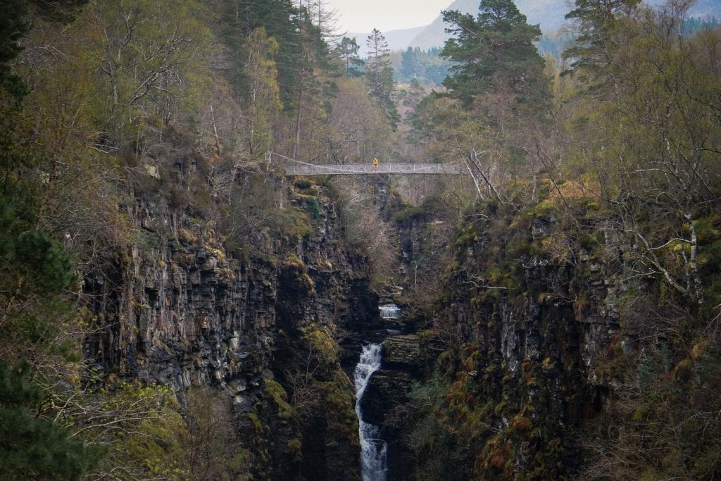 North Coast 500: A woman standing above Corrieshalloch Gorge