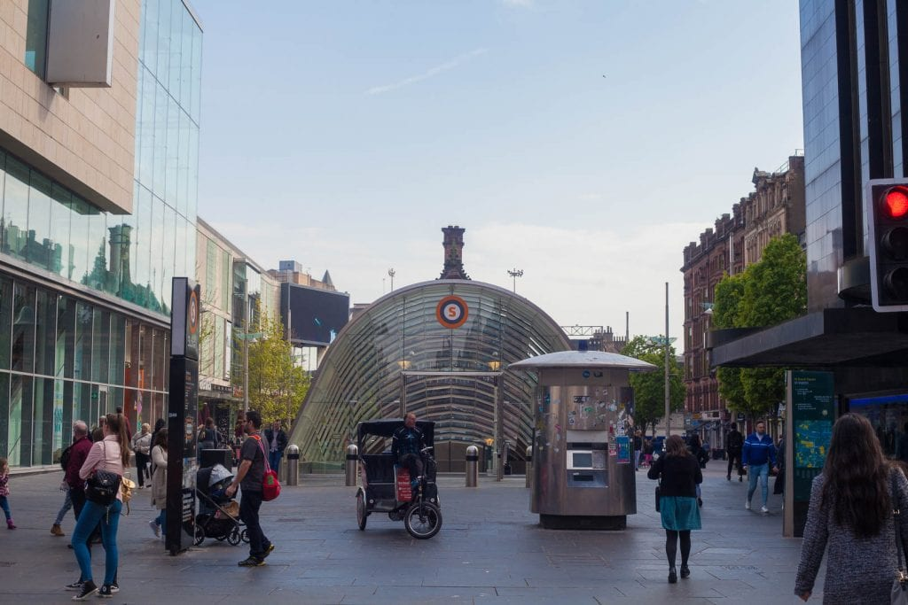 A subway station at St Enoch in Glasgow.