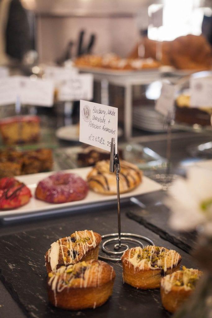 Vegan cakes at the V&V Cafe Glasgow.
