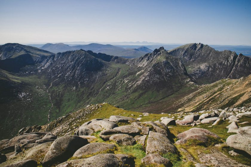 The Goatfell mountain range on the Isle of Arran, Scotland.