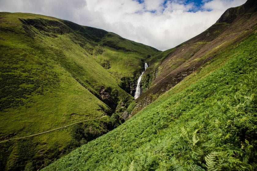 Grey Mare's Tail waterfall in Dumfries & Galloway.