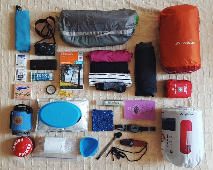 Hiking packing list flatlay with map.