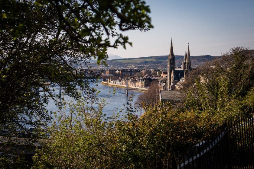 View of Inverness from Inverness Castle in Scotland