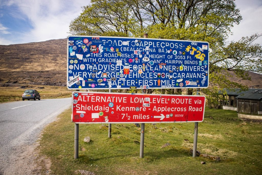Warning sign for the Applecross road Bealach na ba pass road