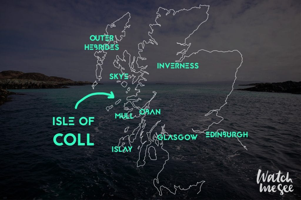 Isle of Coll on the Scotland Map