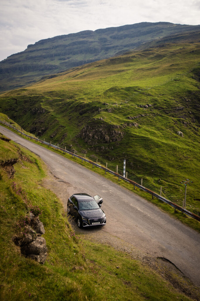 a car on the mountain roads of Mull