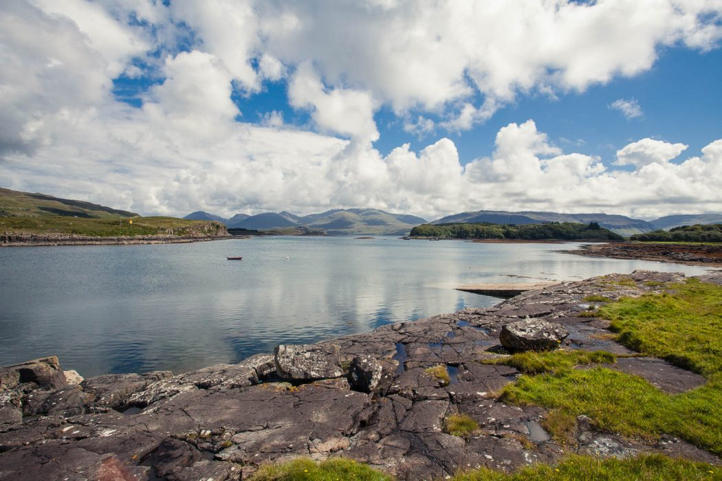 The view of mountains and the sea from the Isle of Ulva.